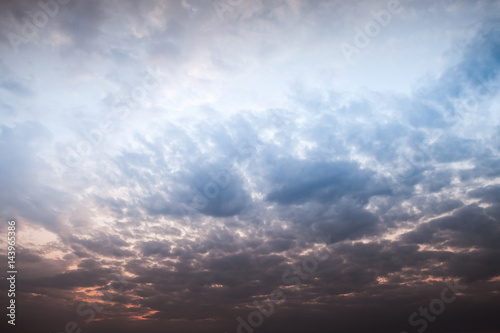 Dramatic sky with colorful clouds at late evening