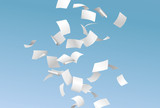 Falling empty documents or papers and flying in the wind on the blue sky background - paperwork concept - vector illustration - 143967512