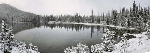 Sparks lake in a snowy day on June - 143972942