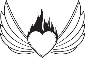 Pair of outlined stroke black vector wings with heart and blazing flame.