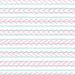 Vector hand drawn pink and blue geometric seamless pattern