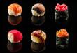 Set of sushi balls and maki rolls