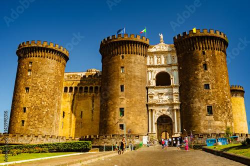 Aluminium Napels The medieval castle of Maschio Angioino or Castel Nuovo (New Castle), Naples, Italy.