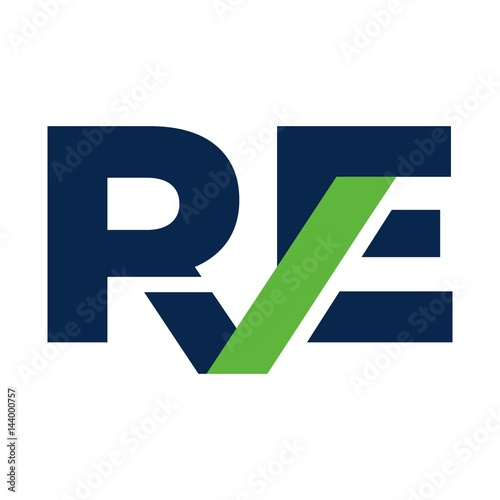 letter R and E logo vector.