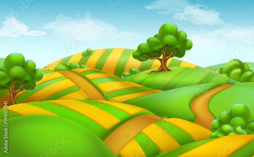 Fotobehang Boerderij Farm field landscape. 3d vector background