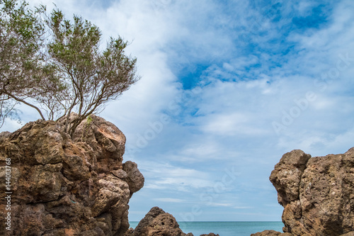 Rock coast with sea and blue sky view,Summer landscape scene