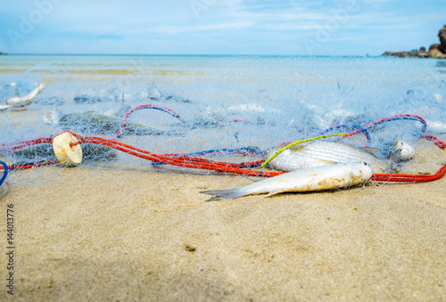Landscape view of fishing nets catch fish on sand beach and sea with blue sky Poster