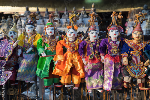 Poster Traditional handicraft puppets souvenir in Mandalay, Myanmar