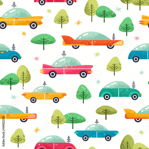 Cotton fabric Cute cars seamless pattern. Colorful cars background. Vector illustration