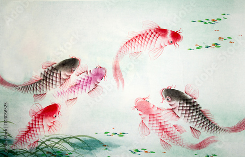 Chinese painting of carp - 144036525