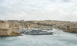 Luxury super yachts moored at Manoel Island, Malta