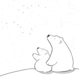 cute cartoon polar bear mom and baby watching stars. animal family. children's illustration or design for new year  or mother's day card