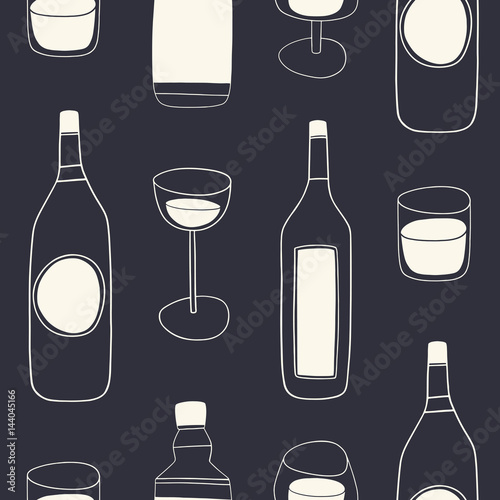 Alcohol drinks seamless pattern. Doodle drinks menu vector background made of bottles and glasses