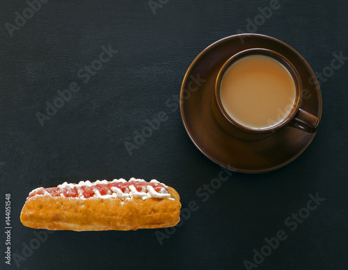 Poster Donut and coffee on blackboard for teacher - education food concept