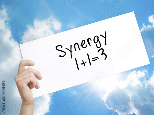 Poster Synergy concept 1+1=3 Sign on white paper