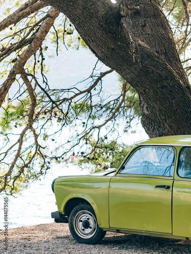 Poster Lazy Yugoslavian retro car in Perast, Montenegro.