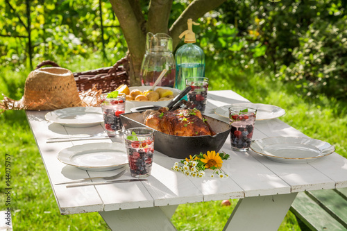 Fresh dinner with potatoes and chicken served in the garden - 144075757