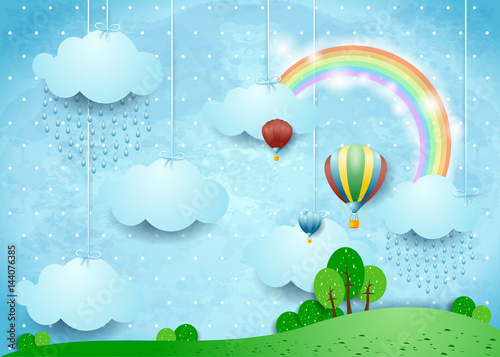 Fotobehang Lichtblauw Fantasy landscape with rain and hot air balloons