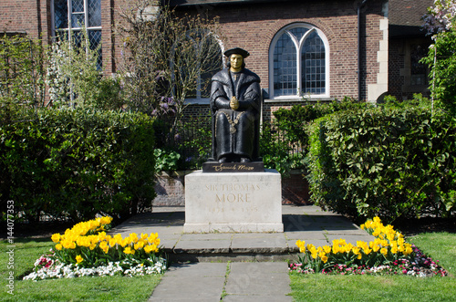 Statue of Sir Thomas Moore at Chelsea Old church London Poster