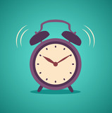 Alarm clock wake-up time isolated on background in flat style. Vector stock.