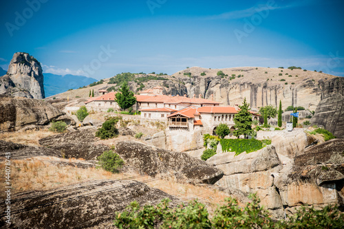 GREECE, METEORA, JULY 2015, spectacular rock formations and Greek Orthodox monasteries.
