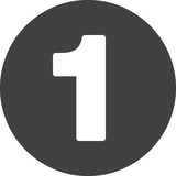 Number 1 flat icon, circular sign, round button one - 144083573
