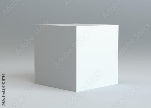 White empty box on gray background
