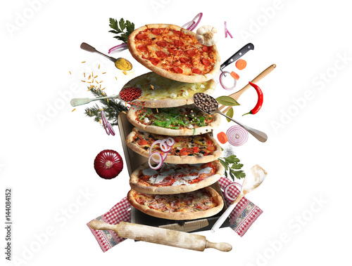 Papiers peints Pizzeria Pizza with different tastes with vegetables, cooking