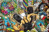 Kolaż muzyczny na dużej ścianie z cegły, graffiti