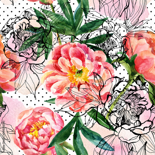 Watercolor and sketch peonies seamless pattern - 144086541