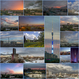Collage of the Ostankino TV tower