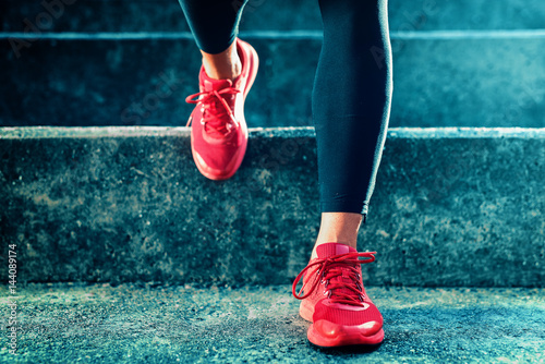 Close up shot of runner's shoes