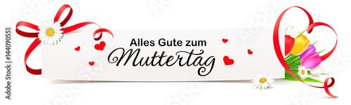 Grußkarte Banner mit roter Schleife, Herz Band und Blumen - Alles Gute zum Muttertag