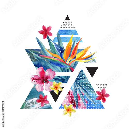 Abstract summer geometric poster design with flowers - 144091123
