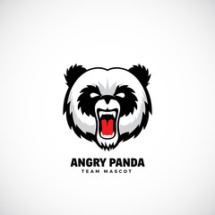Angry Panda Abstract Vector Team Mascot, Label or Logo Template. Bear Face Icon without Background.