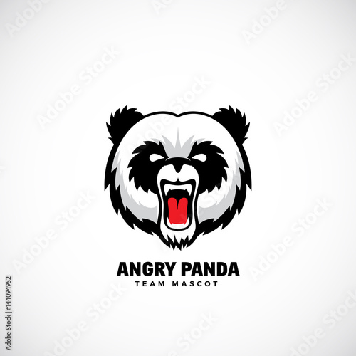 Fototapeta Angry Panda Abstract Vector Team Mascot, Label or Logo Template. Bear Face Icon without Background.