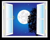 Otwórz okno i noc księżyca
