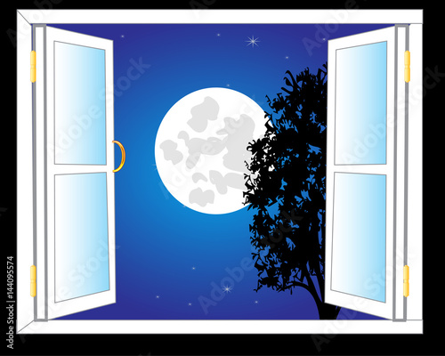 Open window and moon night - 144095574