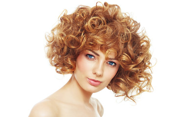 Young beautiful happy healthy woman with curly hair over white background © Olga Ekaterincheva