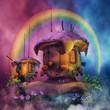 Baśniowe domki na tle kolorowego nieba i tęczy