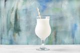 Milkshake with ice cream and natural vanilla, selective focus