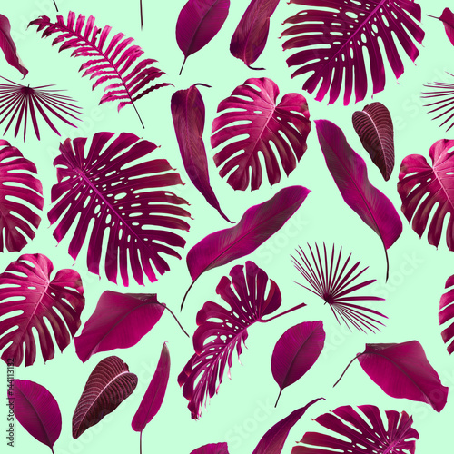 Cotton fabric Seamless Tropical Jungle Leaves Pattern
