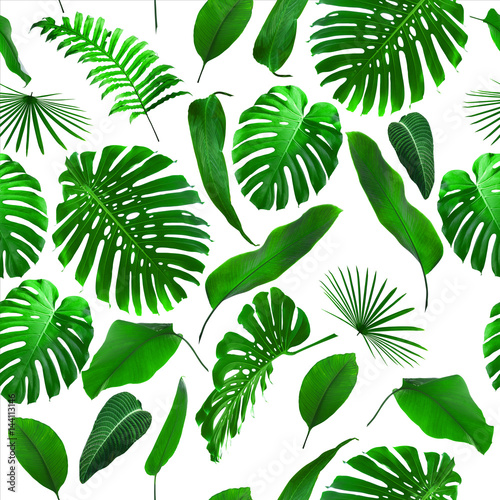 Materiał do szycia Seamless Tropical Jungle Leaves Pattern