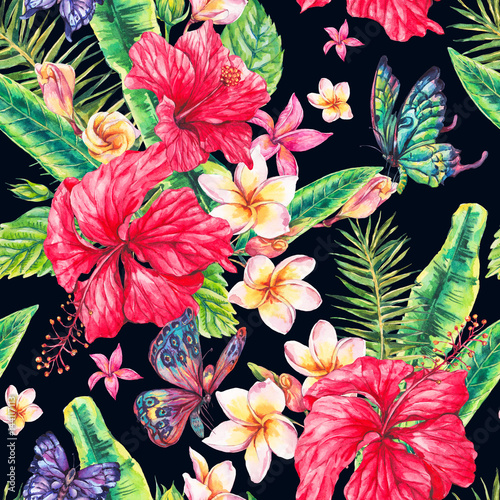 Watercolor vintage floral tropical seamless pattern - 144117113