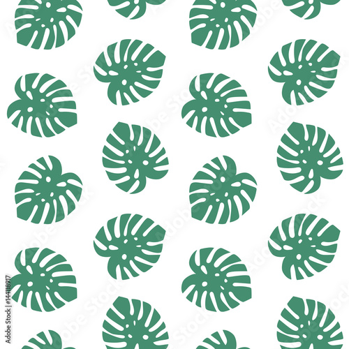 Cotton fabric monstera turquoise leaves tropical summer paradise pattern on a white background seamless vector