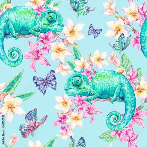 Akwarela bezszwowy wzór z zielonym kameleonem