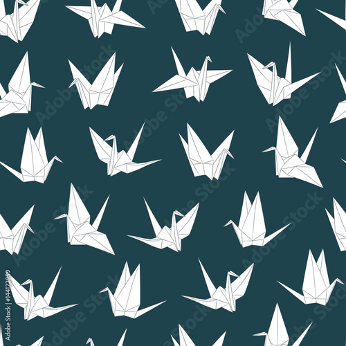 Cotton fabric Seamless vector pattern with paper cranes. Origami bird figure. Japanese symbol of happiness and joy