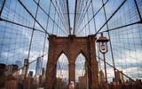 Brooklyn Bridge at dawn with balloons