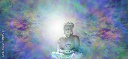 Staande foto Zen Pure Enlightenment Buddha Banner - Buddha in meditative lotus position with white light behind head on a beautiful multicolored energy field background and plenty of copy space