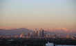LA Winter Sunset Rose Snow Mountains, WiDE view, Blue Sky& Church show